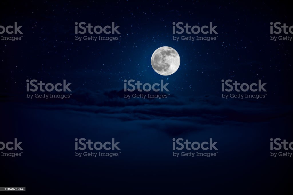 backgrounds night sky with stars and moon and clouds. Beautiful full...