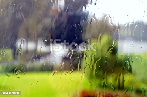 Looking through window at stunning view on a rainy day