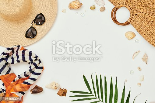 Image of scarf hat sunglasses preparing for summer holiday on white background