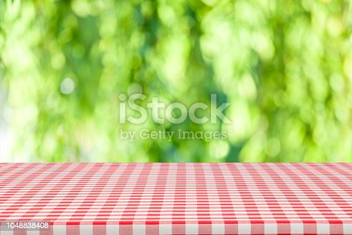 1048926386 istock photo Backgrounds: Red and white checkered tablecloth with green lush foliage at background 1048838408