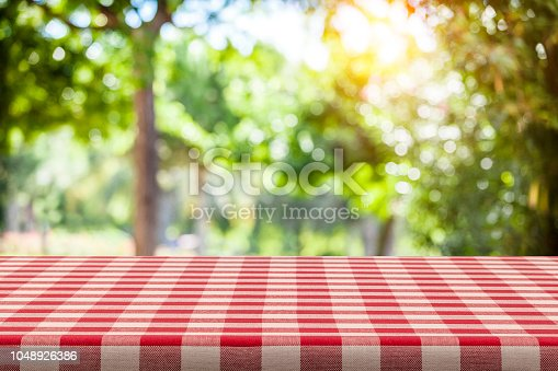 1048926386 istock photo Backgrounds: Red and white checkered tablecloth with green lush foliage at background 1048926386