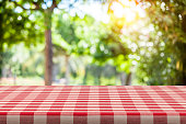 Empty table covered with red and white checkered tablecloth with defocused lush foliage at background. Ideal for product display on top of the table. Predominant color are green and red. DSRL studio photo taken with Canon EOS 5D Mk II and Canon EF 100mm f/2.8L Macro IS USM.