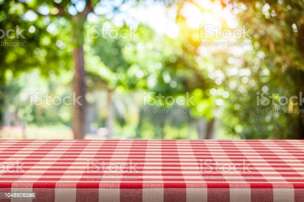 Photo of Backgrounds: Red and white checkered tablecloth with green lush foliage at background