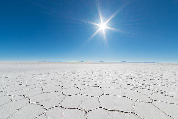 Backlight in the majestic Uyuni Salt Flat, Bolivia stock photo