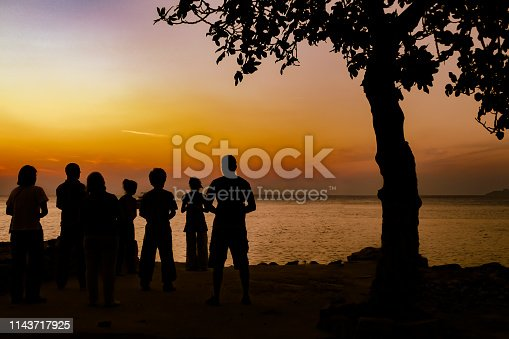 Backlight shot of group of people looking at sunset, friendship, Happiness, success,  and community concepts