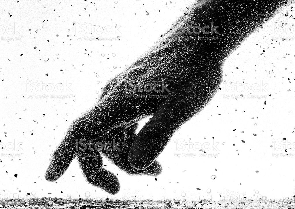back-lighted hand with bubble in water (or chemical solution) royalty-free stock photo