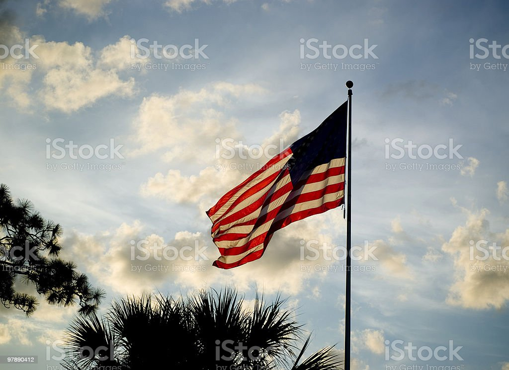 Backlit American Flag royalty-free stock photo
