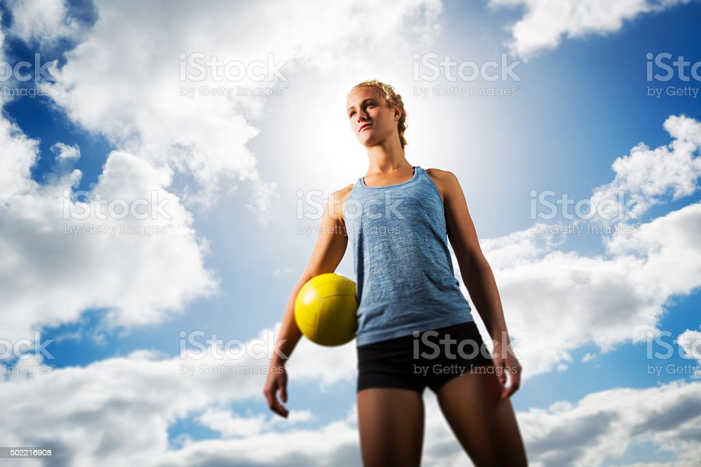 Backlit Beach Volleyball Teenage Girl Portrait stock photo
