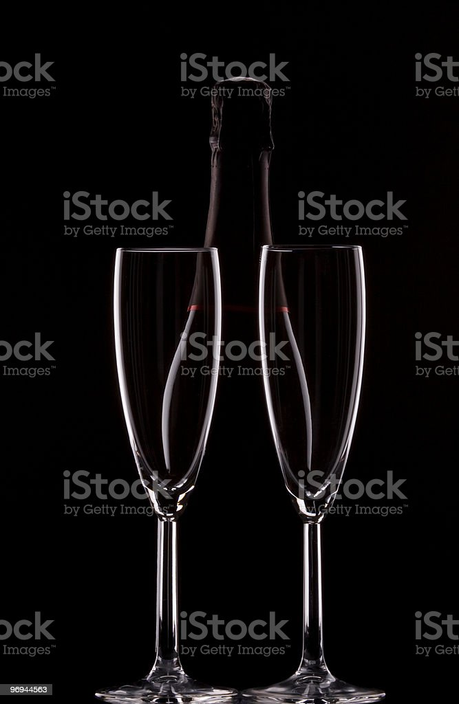 Backlit champagne bottle royalty-free stock photo