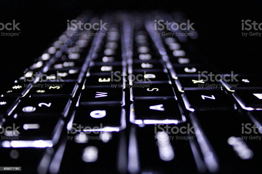 Back-lit Computer Keyboard stock photo