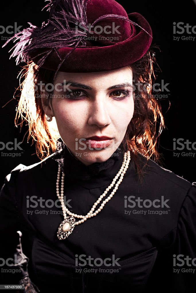 Backlit Girl in Victorian clothing royalty-free stock photo
