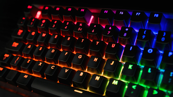 Backlit keyboard with rainbow colors - Orange, pink, blue, green