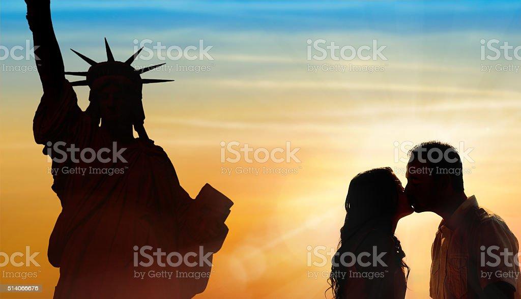 Backlit loving couple honeymoon in New York stock photo
