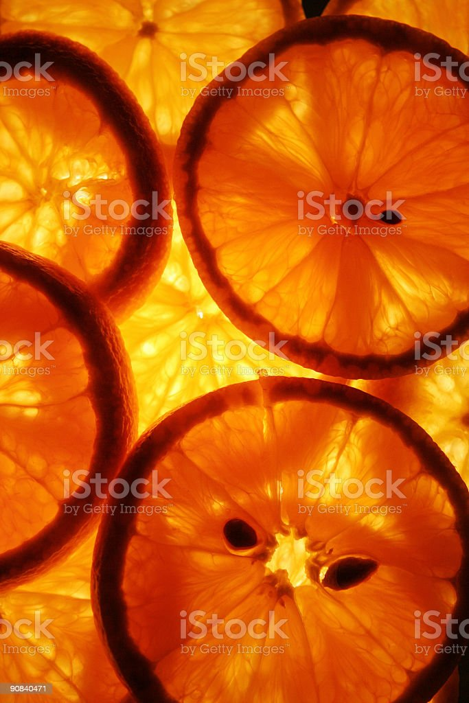 Backlit oranges royalty-free stock photo