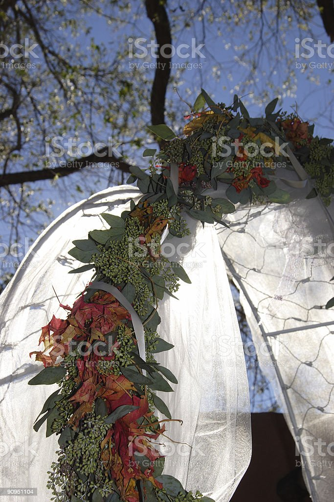 Backlit Outdoor Wedding Decorations royalty-free stock photo