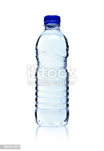 Backlit plastic water bottle isolated on white.