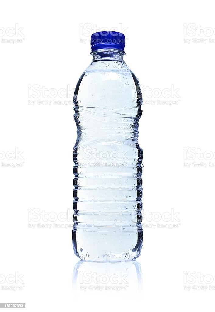 Backlit plastic water bottle. Isolated on white. stock photo