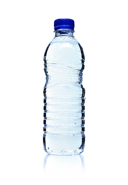 Backlit plastic water bottle. Isolated on white. stock photo
