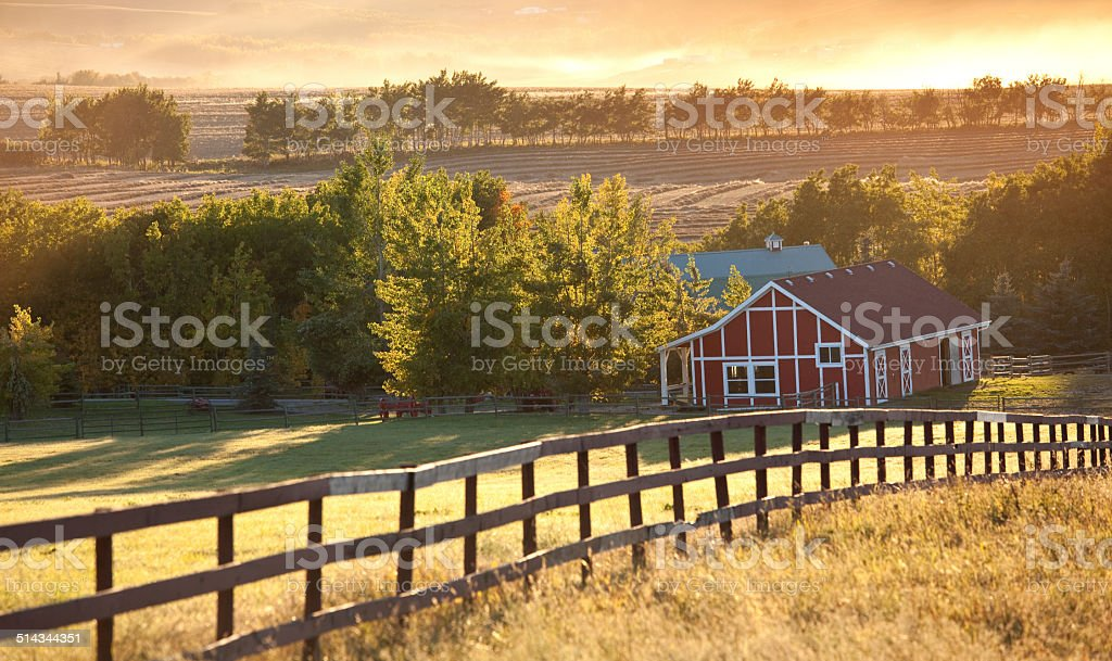 Backlit Red Barn on the Prairie in Fall stock photo