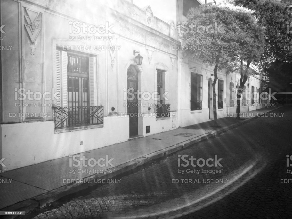 Backlit row of houses in Buenos Aires stock photo