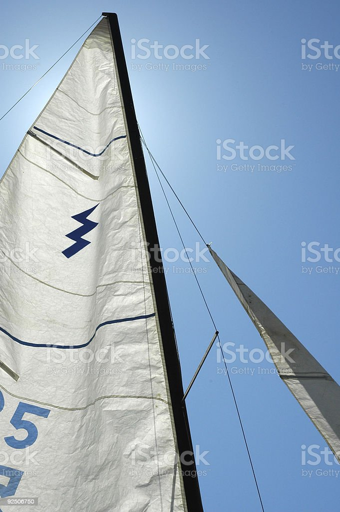 Backlit Sail on a Bright Sunny Day stock photo
