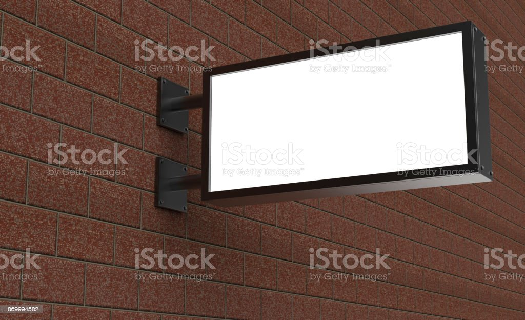 Backlit signage board, led glow advertising board, vinyl company sign on brick wall. stock photo