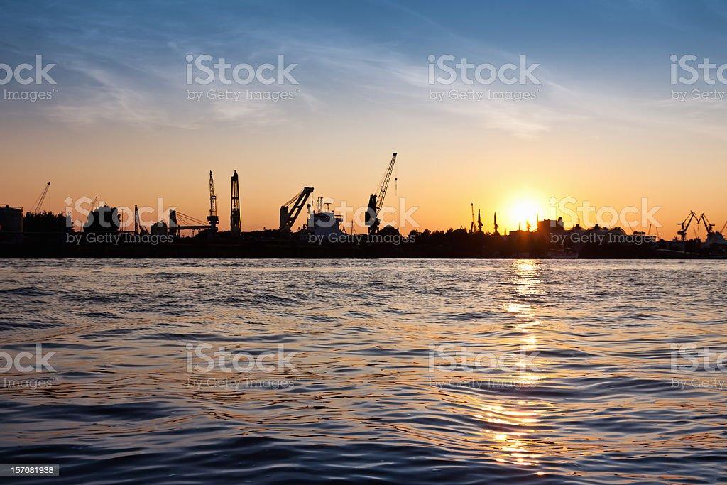 Backlit Silhouette Port of Hamburg Docks royalty-free stock photo