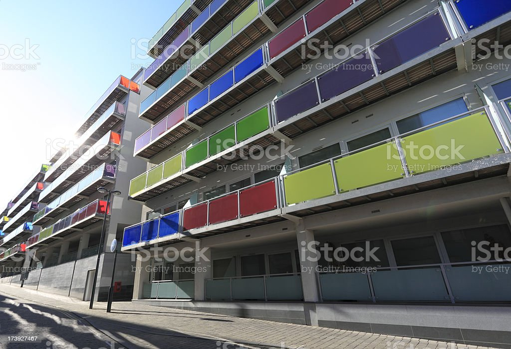 Backlit view of modern apartments royalty-free stock photo