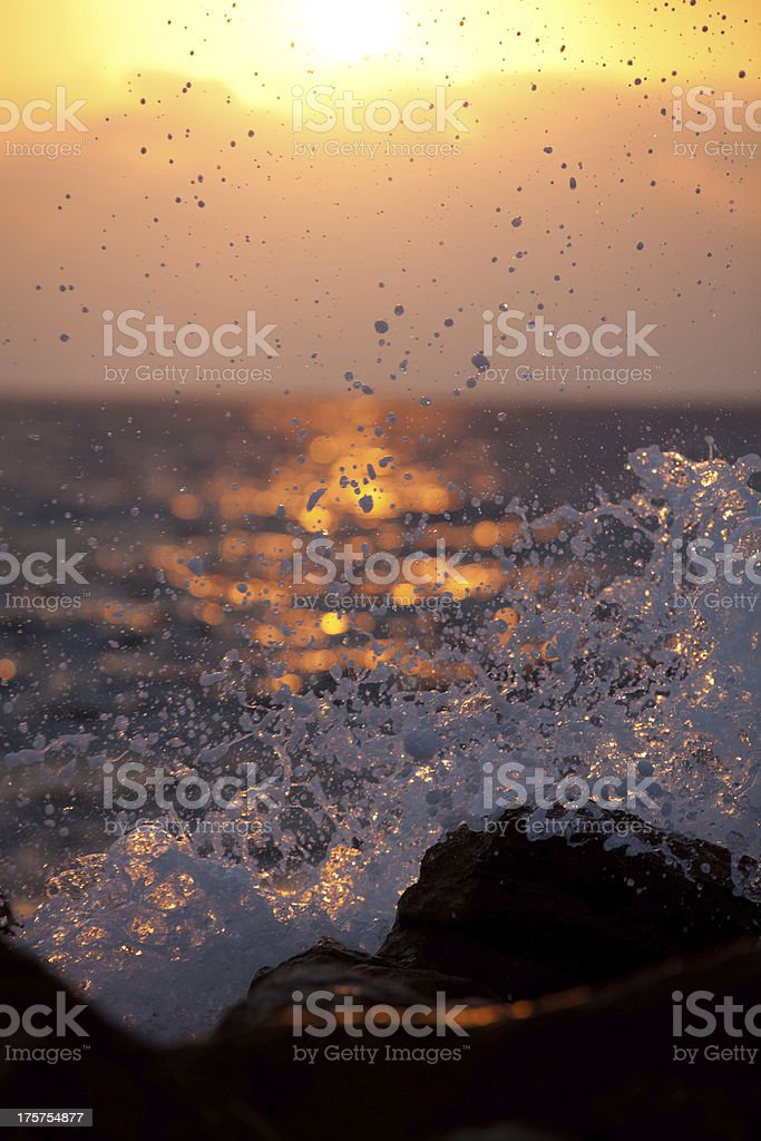 Backlit Wave Splash at Sunset royalty-free stock photo