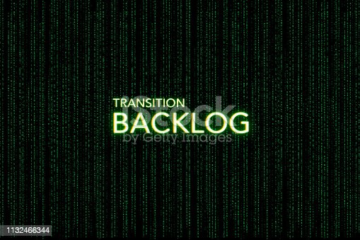 istock backlog, keyword of scrum, on a green matrix background 1132466344