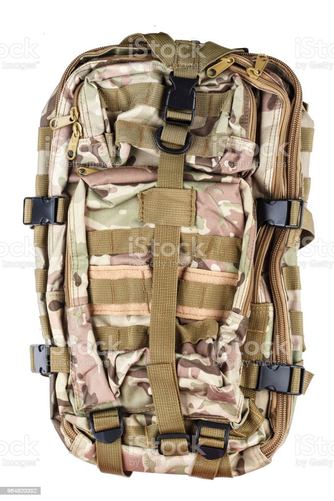 backpack color khaki isolated. equipment for tourism and fishing. royalty-free stock photo