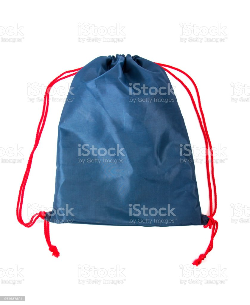 Backpack drawstring bag isolate on white background stock photo