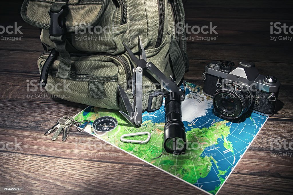 Backpack - emigrate concept stock photo