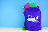 istock Backpack full of school supplies and COVID 19 prevention supplies against a blue background 1255963333