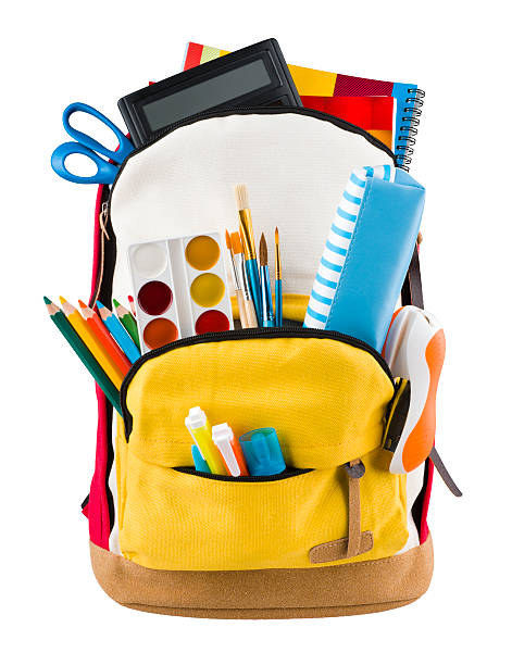 Backpack isolated on white backgorund with protruding school supplies - Photo