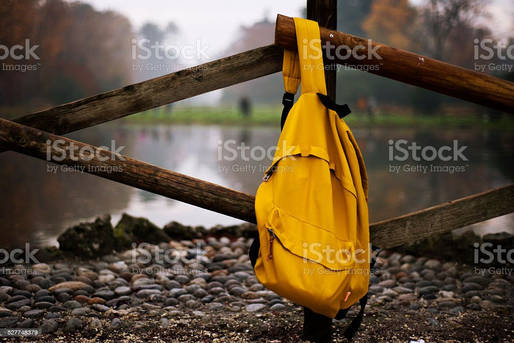 Backpack isolated on white background w/clipping path stock photo