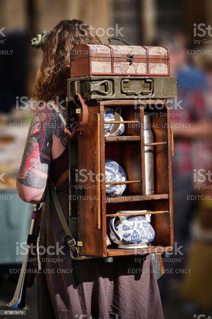 Backpack - Lincoln asylum steampunk festival 2017 stock photo
