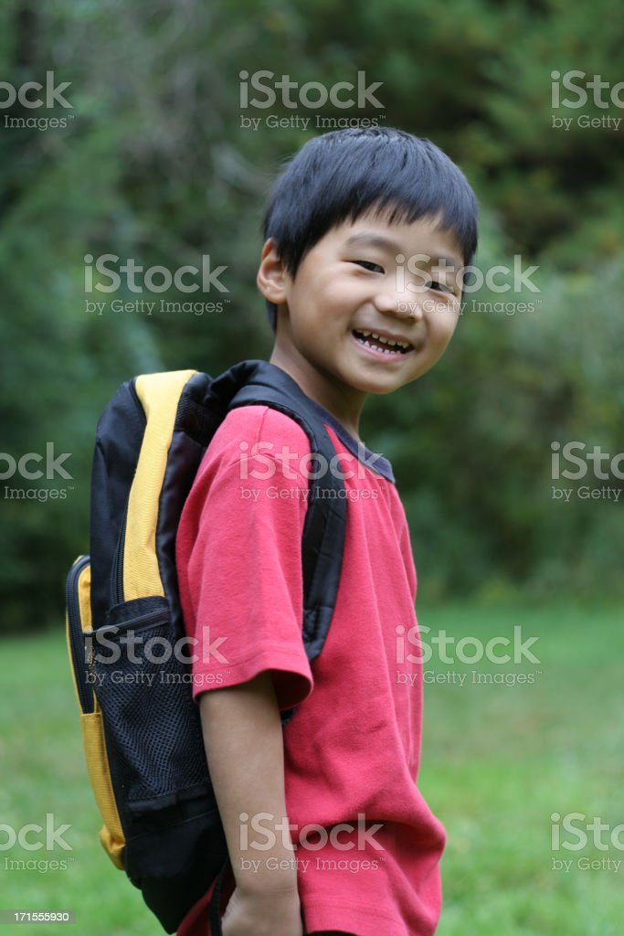 Backpack on, ready for kindergarten! royalty-free stock photo