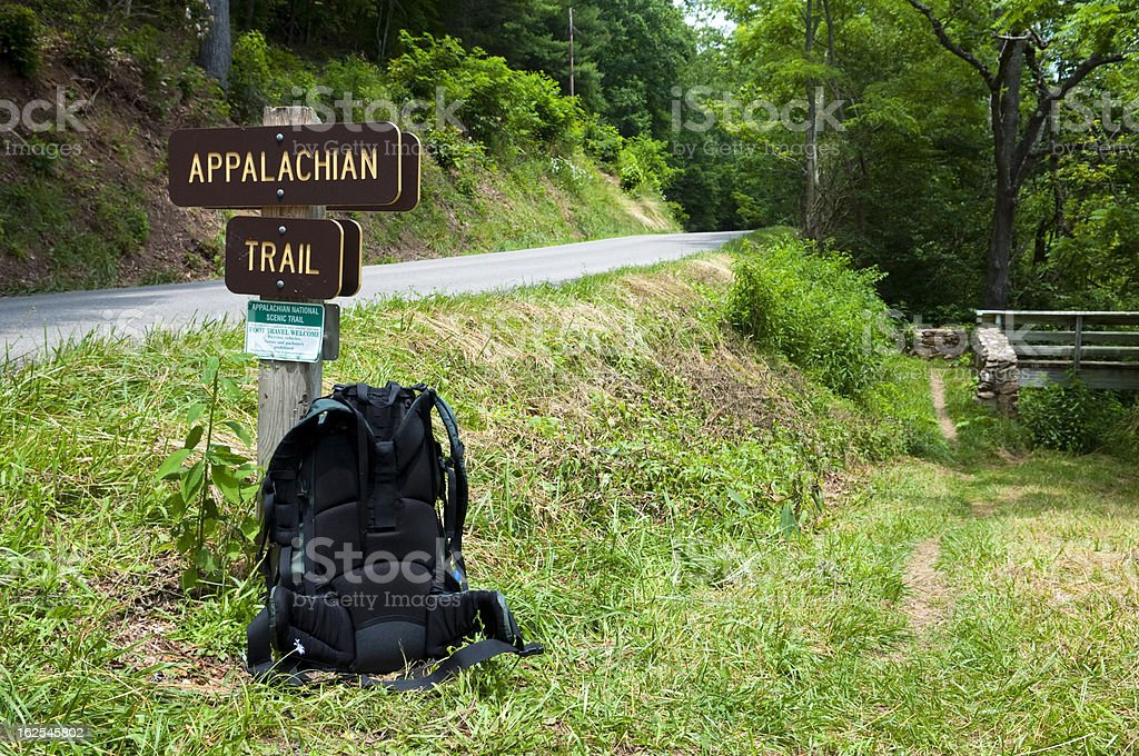 Backpack on the Appalachian Trail in southwest Virginia stock photo