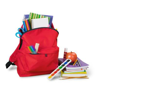 Backpack. Colorful school supplies in backpack on white background school supplies border stock pictures, royalty-free photos & images