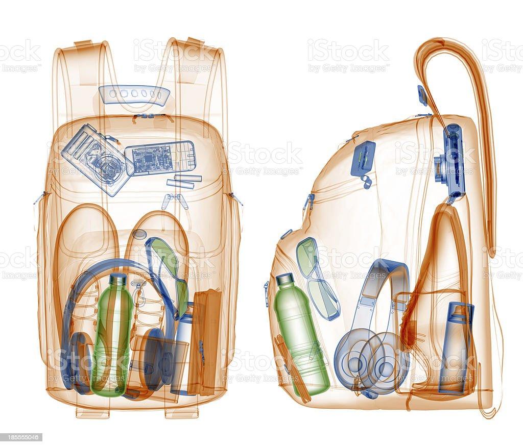 Rucksack unter xray auf Sicherheit und Klimaanlage. – Foto