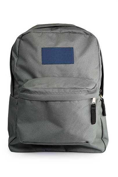 Backpack with grey and blue colors stock photo