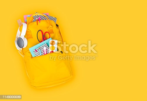 Backpack with school supplies and accessories isolated on yellow background
