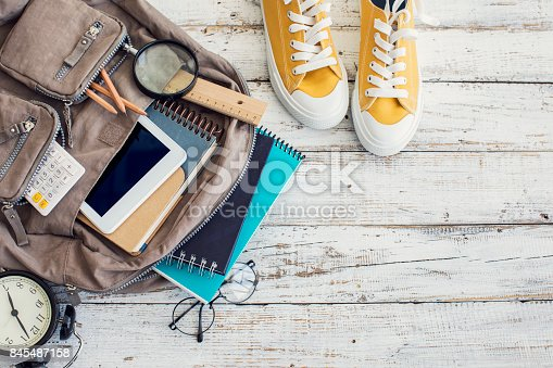 istock Backpack with school supplies 845487158
