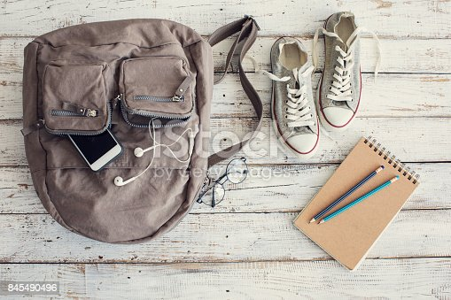 istock Backpack with school supplies 845490496