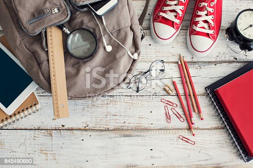 istock Backpack with school supplies 845490650