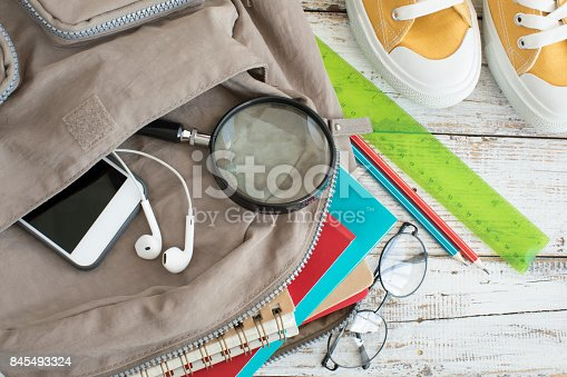 istock Backpack with school supplies 845493324