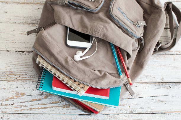 Backpack with school supplies stock photo