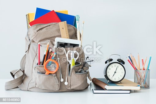 istock Backpack with school supplies 851546950