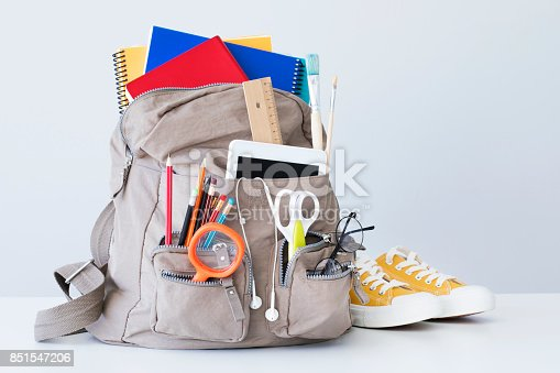 istock Backpack with school supplies 851547206